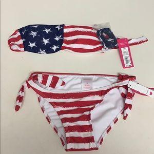 Xhilaration Bikini Set Flag NWT Top